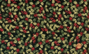 'Tis the Season' Packed Allover Holly on Black Christmas Cotton Fabric By the Yard