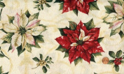 'Tis the Season' Poinsettias allover on Ivory Cotton Fabric By the Yard