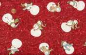'Swirly Snowmen' Allover on Red Cotton Fabric By the Yard