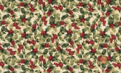 'Tis the Season' Packed Allover Holly on Ivory Christmas Cotton Fabric By the Yard