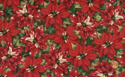 'Tis the Season' Packed Red Poinsettias Christmas on Cotton Fabric By the Yard