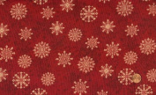 'Tis the Season' Packed Snowflakes on Red Christmas Cotton Fabric By the Yard