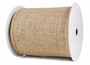 Burlap Ribbon 10cm X10Y Natural Wired