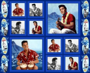 Blue Hawaii ELVIS PRESLEY Fabric Panel (Great for Sewing, Crafting, Quilting, Wall Hanging or Throw Pillows) 90cm x 110cm Wide