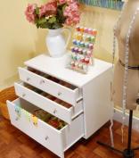 Kangaroo Kabinets K7811 Joey, Three Drawer Sewing Storage Sidekick, Ash White