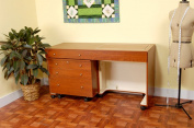 Kangaroo And Joey Mobile Foldable Sewing Cabinet With Three Drawer Storage Unit in Teak By Kangaroo Kabinets