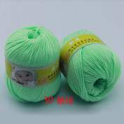 Joylive Smooth Worsted Super Soft Natural Silk Wool Fibre Baby Yarn Skein Lot 50g Tea Green