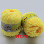 Joylive Smooth Worsted Super Soft Natural Silk Wool Fibre Baby Yarn Skein Lot 50g Lemon Yellow