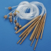 Nicedeco - hook,Crochet,12 Sizes Afghan Tunisian 3mm-10mm Bleached Bamboo Crochet Hooks