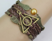 Harry Potter Bracelet, Golden Snitch and Owls Bracelet, Deathly Hallows Bracelet,friendship Bracelet