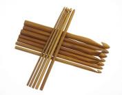 Easy More 12 Sizes Carbonised Bamboo Crochet Hook Knitting Needles 3.0-10.0mm
