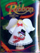 Holiday Ribbon Embroidery with Counted Cross Stitch Kit - Mr. Snow