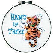 Dimensions Learn-A-Craft Hang In There Stamped Cross Stitch Kit