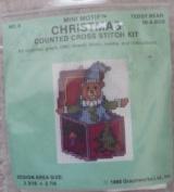Teddy Bear-In-A-Box - Mini Motif Christmas Counted Cross Stitch Kit - #8