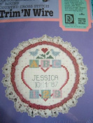 BIRTH ANNOUNCEMENT COUNTED CROSS STITCH KIT 13cm ROUND TRIM 'N WIRE FROM DESIGNS FOR THE NEEDLE