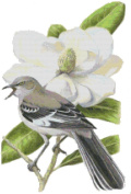 Mississippi State Bird and Flower Counted Cross Stitch Pattern