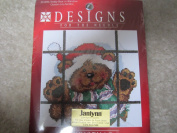 Designs for the Needle Christmas Teddy Bear in a Window 15cm X 15cm Counted Cross Stitch Kit