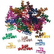 Multicoloured Bar Mitzvah Confetti in Hebrew and English, Barmitzvah Confetti Decorations for a Jewish Party