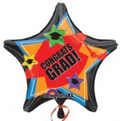 GRADUATION 48cm Balloon GRAD STARS HATS CELEBRATION CONGRATS PARTY & FREE RIBBON