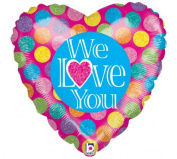 We Love You Holographic Heart 46cm Mylar Balloon