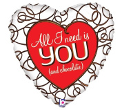 All I Need Is You Heart Shaped 46cm Mylar Balloon