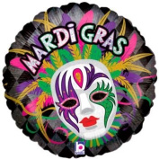 Mardi Gras Mask & Feathers Holographic Foil Balloon