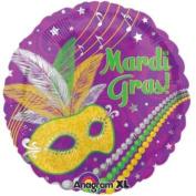 Mardi Gras Mask & Beads Foil Balloon