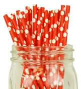 Polka Dot Paper Straw 25pcs Red with White Dots -Just Artefacts Brand