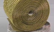 Dress My Cupcake Gold Diamond Rhinestone Ribbon Wrap BULK 30 feet - Gold Party Decorations, Wedding Hanging Decorations