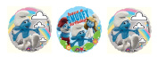 3 Smurf Birthday Mylar Balloons - Smurfy Bundle of Foil Party Balloons
