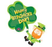 Happy St. Patrick's Day Leprechaun & Shamrock 80cm Mylar Balloon