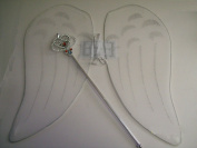 White Angel Wings Costume with Wand