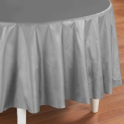 Festive Silver Table Cover - Silver Round Plastic Table Cover - 1 per Package