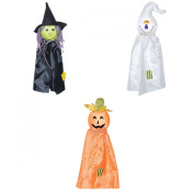 Sunstar Industries Set of 3 Hanging Haloween Decorations Pumpkin, Witch & Ghost
