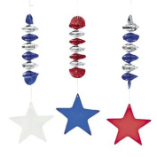 Patriotic Stars Dangling Spirals - Party Decorations & Hanging Decorations