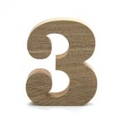 Koyal Wholesale No.3 Vintage Freestanding Wooden Numbers, 12cm