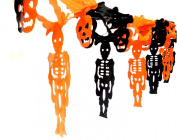 Day of the Dead Halloween Party Flags Orange Black