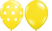 12 Assorted Balloons - Yellow with White Polka Dots and Plain Yellow