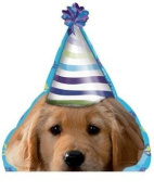 The DOG Puppy Pups wearing Party HAT 21' Happy Birthday Party Mylar Balloon