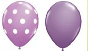 12 Assorted Balloons - Lilac Purple with White Polka Dots and Plain Lilac Purple