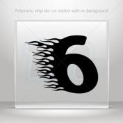 Decals Stickers Racing Flame Number Six car helmet window bike Garage door 0502 XW975
