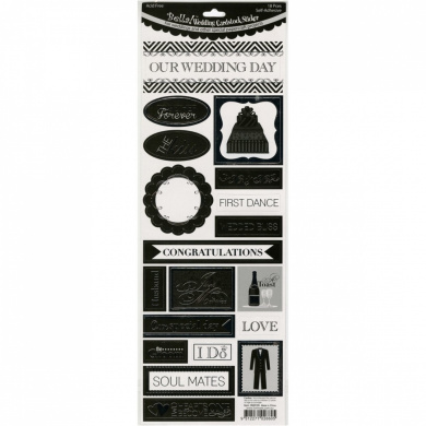 Bella! Wedding Foiled Cardstock Stickers 11cm x 30cm -Phrases/Silver