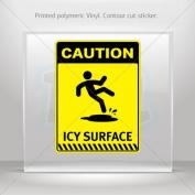 Decal Stickers Caution Icy Surface car helmet window bike Garage door 0500 X4426