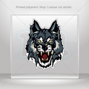 Sticker Decals Wolf Head car window bike ATV jet-ski Garage door 0500 XR948