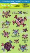 Girls Rule Skulls Sparkle Scrapbook Stickers