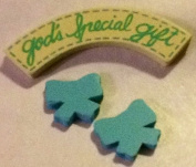 """Baby Craft, Pre-painted, Wood Minis, Decorative Miniatures. Blue, """"God's Special Gift"""" with 2 Ribbons"""