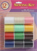 12 pc Assorted Colours Sewing Thread SPOOL Cotton All Purpose ART CRAFT PROJECTS