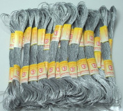New ThreadsRus 24 METALLIC SILVER Skeins of High Quality 100% Cotton Metallic Thread for Hand Embroidery - THREADSRUS BRAND