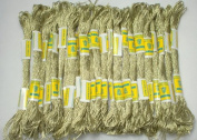 New ThreadsRus 24 WHITE GOLD SKEINS of High Quality 100% Cotton Metallic Thread for Hand Embroidery - THREADSRUS BRAND