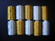 10 SPOOLS METALLIC GOLDEN SILVER RAYON EMBROIDERY THREAD